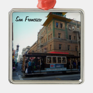 San Francisco Cable Car Silver-Colored Square Decoration