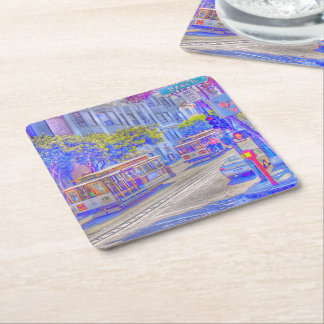 San Francisco,cable car Square Paper Coaster