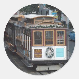 San Francisco Cable Car Round Sticker