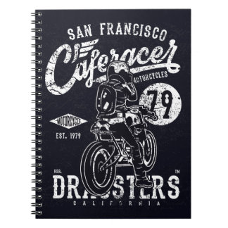 San Francisco Cafe Racer Motor California Spiral Notebook