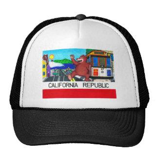 San Francisco California Bear Flag Trucker Hats