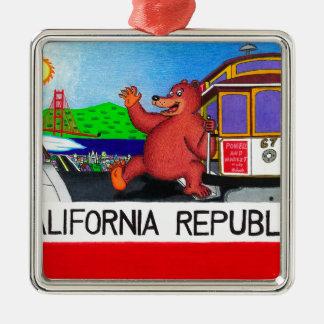 San Francisco California Bear Flag Metal Ornament