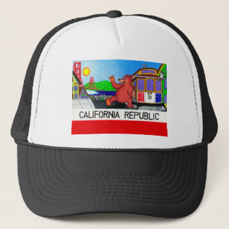 San Francisco California Bear Flag Trucker Hat
