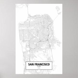 San Francisco, California (black on white) Poster