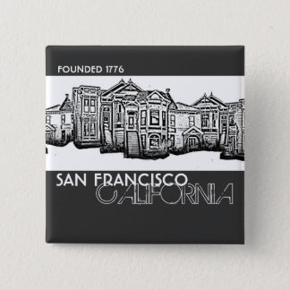 San Francisco California old town buildings button