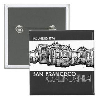 San Francisco California old town buildings button
