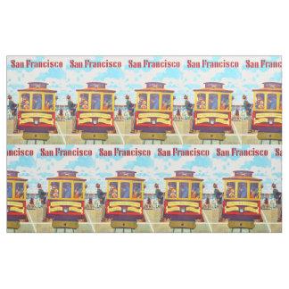San Francisco California Trolley Car Golden Gate Fabric