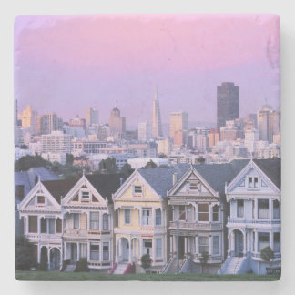 San Francisco, California. View of Victorian Stone Coaster