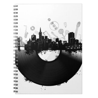san francisco city skyline vinyl white notebook