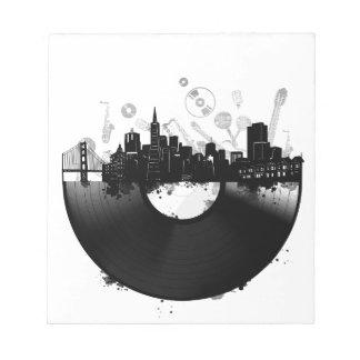 san francisco city skyline vinyl white notepad