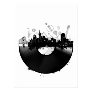 san francisco city skyline vinyl white postcard