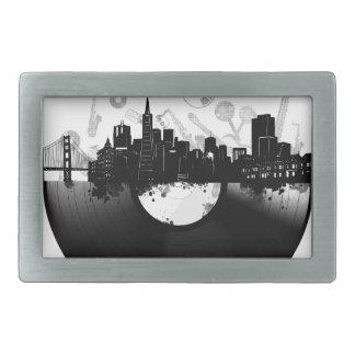 san francisco city skyline vinyl white rectangular belt buckles