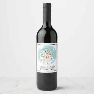 San Francisco Destination Wedding Wine Label