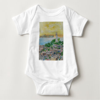 San Francisco Dusk Sunset Over Coit Tower Baby Bodysuit