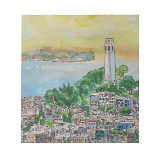 San Francisco Dusk Sunset Over Coit Tower Notepad