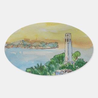 San Francisco Dusk Sunset Over Coit Tower Oval Sticker