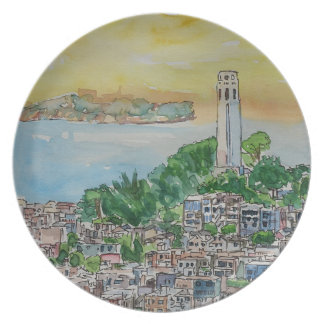 San Francisco Dusk Sunset Over Coit Tower Party Plates