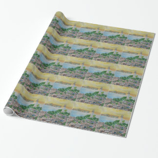 San Francisco Dusk Sunset Over Coit Tower Wrapping Paper