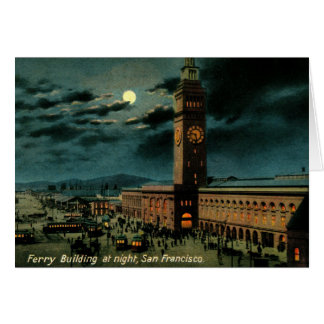 San Francisco, Ferry Building at Night, Vintage Card