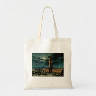 San Francisco, Ferry Building at Night, Vintage Tote Bag