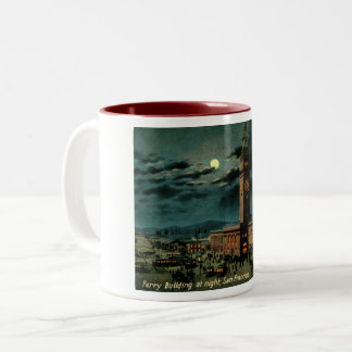 San Francisco, Ferry Building at Night, Vintage Two-Tone Coffee Mug