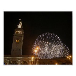 San Francisco Ferry Building Fireworks #3-1 Poster