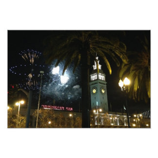 San Francisco Ferry Building Fireworks Photo Print
