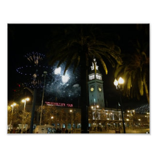 San Francisco Ferry Building Fireworks Poster