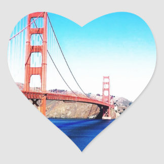 San Francisco Golden Gate Bridge California Heart Sticker