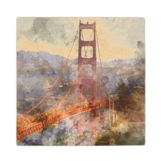 San Francisco Golden Gate Bridge in California Wood Coaster