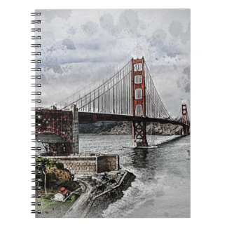 San Francisco Golden Gate Golden Gate Bridge Water Notebook