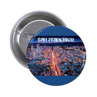 San Francisco - Market Street Night from Twin Peak 6 Cm Round Badge