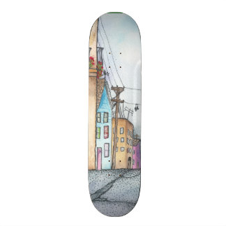 San Francisco Neighborhood Watercolor Skateboard