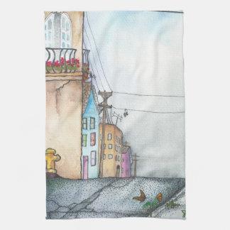 San Francisco Neighborhood Watercolor Tea Towel