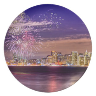 San Francisco New Year Fireworks Party Plate