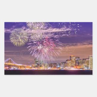 San Francisco New Year Fireworks Rectangular Sticker