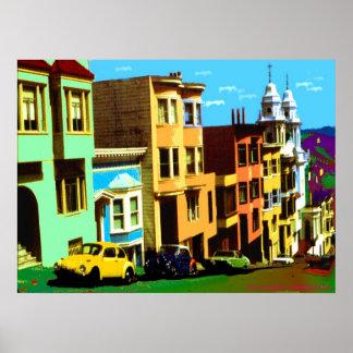 San Francisco Nob Hill - Pop Art Print