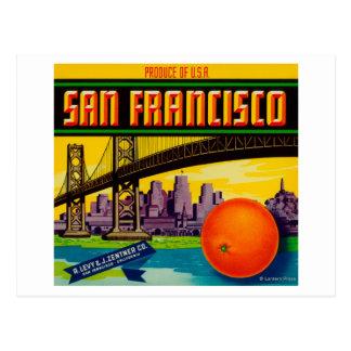 San Francisco Orange Label Postcard