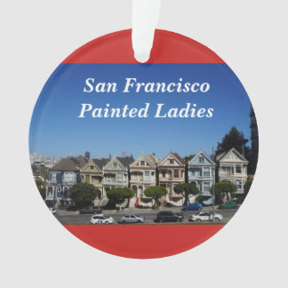 San Francisco Painted Ladies #3 Red Ornament