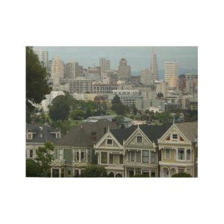 San Francisco Postcard Row City Scene Photography Wood Poster