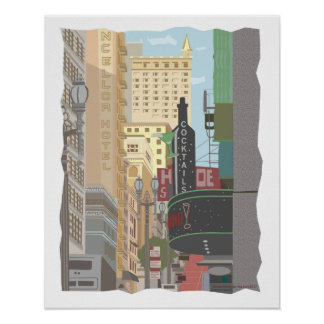 San Francisco-Powell and O'Farrell Streets Poster