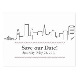 San Francisco Save the Date City Skyline Postcard