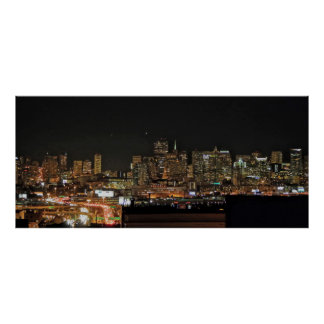 San Francisco Skyline at Night Poster