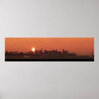 San Francisco Skyline / Bay Bridge Sunset Panorama Poster