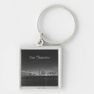 San Francisco Skyline Black White Photo Keychain