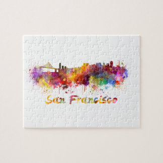 San Francisco skyline in watercolor background Jigsaw Puzzle