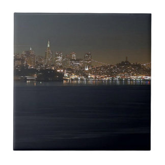 San Francisco Skyline Seen From Across The Bay Small Square Tile