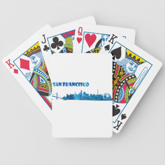 San Francisco Skyline Silhouette Bicycle Playing Cards
