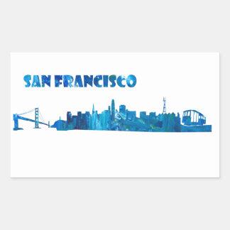 San Francisco Skyline Silhouette Rectangular Sticker