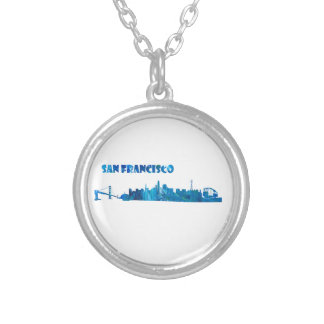 San Francisco Skyline Silhouette Silver Plated Necklace